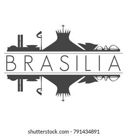 Brasilia Brazil America Skyline Vector Art Mirror Silhouette Emblematic Buildings