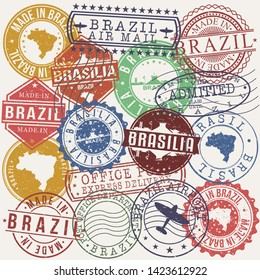 Brasilia Brazil Set of Stamps. Travel Stamp. Made In Product. Design Seals Old Style Insignia.