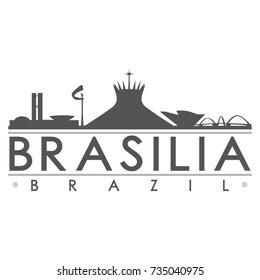 Brasilia Brazil Skyline Silhouette Design City Vector Art Famous Buildings