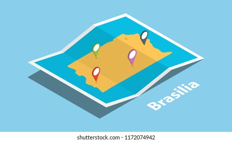 brasilia explore maps with isometric style and pin location tag on top vector illustration