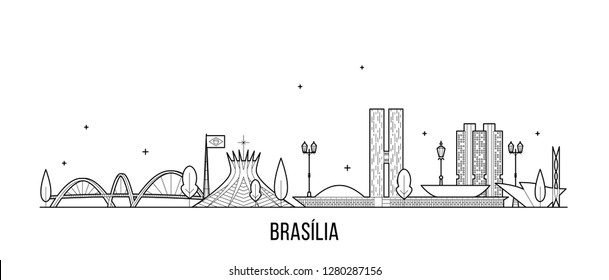 Brasilia skyline, Brazil. This illustration represents the city with its most notable buildings. Vector is fully editable, every object is holistic and movable