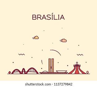 Brasilia skyline, Brazil. Trendy vector illustration, linear style