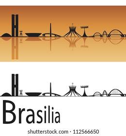 Brasilia skyline in orange background in editable vector file