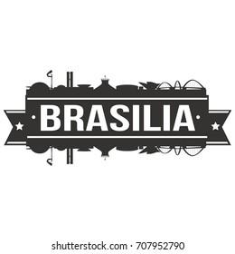 Brasilia Skyline Silhouette City Vector Design Art