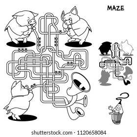 Brass band of three little pigs. Educational maze game for children. Black and white cartoon vector illustration
