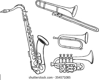 Brass Instruments Doodles-Set of wind instruments in hand drawn illustration
