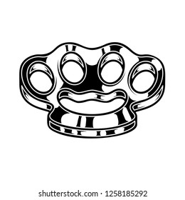 Brass knuckle illustration. Design element for logo, label, sign, poster, t shirt. Vector illustration