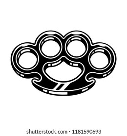 Brass knuckles black and white vector illustration. Violence and fighting, old school tattoo design.