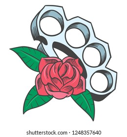 Brass knuckles and rose. Tattoo design. Shirt graphic with old school Brass knuckles and  roses