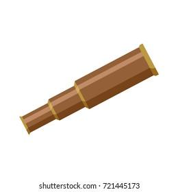 Brass metal sailor, pirate foldable telescope, spyglass, flat cartoon vector illustration isolated on white background. Simple flat cartoon brass hand held, portable telescope, spyglass