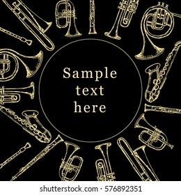 Brass musical instruments. Hand drawn vector illustration. Poster.