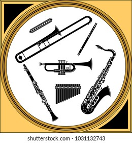 Brass and reeds musical instruments monochrome set vector