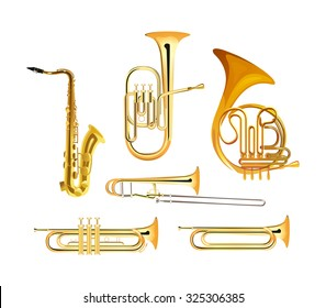 Brass Wind Orchestra Musical Instruments isolated on white, Vector Illustrations