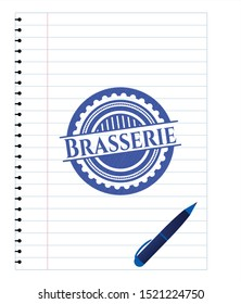 Brasserie pen effect. Blue ink. Vector Illustration. Detailed.