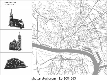 Bratislava city map with hand-drawn architecture icons. All drawigns, map and background separated for easy color change. Easy repositioning in vector version.