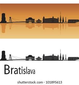 Bratislava skyline in orange background in editable vector file