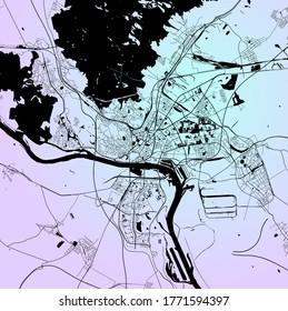 Bratislava, Slovakia — urban vector city map of capital city with parks, roads and railways, minimalist town plan design poster, city center, downtown, transportation network, blueprint