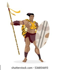 brave african warrior with spear and shield