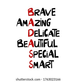 Brave, amazing, delicate, beautiful, special, smart. Cute hand drawn lettering in modern scandinavian style. Isolated on white. Vector stock illustration.