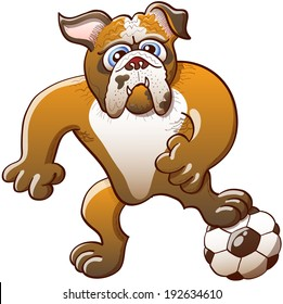 Brave bulldog stepping on a soccer ball, clenching its fists and staring at the objective while preparing a kick