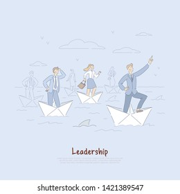 Brave businessman and employees sailing on paper boats, business development metaphor, leadership abilities banner