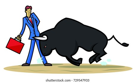 Brave businessman. Businessman or entrepreneur as a bullfighter dealing with a bull that could represent a challenge, crisis or a problem.