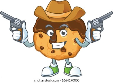 The brave of chocolate chips with cream Cowboy cartoon character holding guns