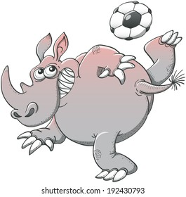 Brave corpulent rhino executing a stunt with a soccer ball consisting on making it pass above his head by rising high his leg and kicking the ball with the sole of his foot