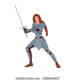 Brave female warrior or medieval knight. Woman holding sword and standing in fighting stance isolated on white background. Maiden with long hair wearing armor. Flat cartoon vector illustration.