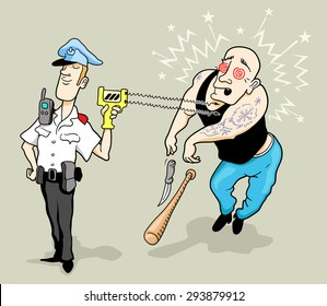 Brave and Funny Cartoon Policeman Using Taser for Arrest the Big and Aggressive Robber. Vector Illustration in Doodle Style
