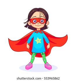 Brave girl in Superhero costume stands firm legs wide apart, with a mask on her face and developing in the wind red cloak. Colorful vector cartoon Super girl character isolated on white background.