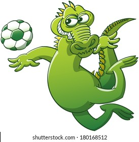 Brave green alligator keeping balance with its arms and tail in a mischievous attitude while floating in the air after having jumped, to be able to stare at a soccer ball and hit it powerfully
