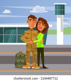 Brave happy smiling soldier man character come back home to his wife girlfriend woman. Military war flat cartoon illustration graphic design concept element