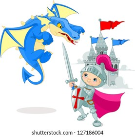 A brave knight fighting with a dragon