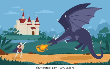 Brave knight or swordsman fighting with dragon against medieval castle on background. Legendary hero struggle against evil monster. Scene from fairytale or legend. Flat cartoon vector illustration.