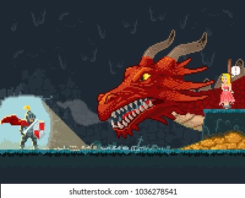 Brave Knight Wants To Save The Princess From The Dragon. Pixel art