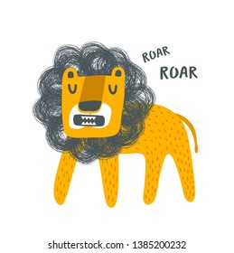 Brave lion animal king of jungle illustration. Funny print in scandinavian style for baby room decor or children textile.