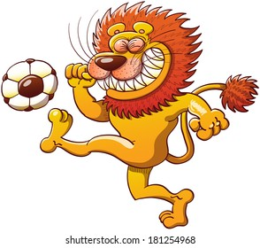 Brave lion with a big orange mane, long tail and sharp teeth while clenching its eyes, teeth and fists and making a big effort to kick a soccer ball