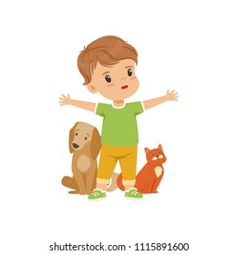 Brave little boy protecting and caring for animals vector Illustration on a white background