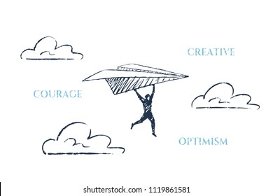 A brave man is flying on a paper plane. Vector business concept illustration, hand drawn sketch. Creative, courage, optimism.