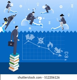 Brave new world business concept. Pensive businessman in business suit with case standing on pile of books looking over the fence where business people are flying on the clouds surrounded with light