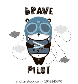 Brave pilot cute panda. Cartoon baby panda . Childish print for nursery, kids apparel,poster, postcard. Vector Illustration