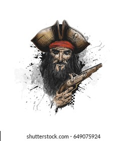 Brave pirate with pistol, Hand Drawn Sketch Vector illustration.