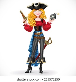 Brave red-haired pirate girl holding a bomb with lit fuse isolated on white background