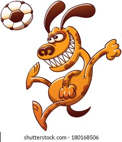 Brave spotted brown dog clenching its fists and teeth in a powerful and dynamic attitude while executing a big jump to hit a soccer ball