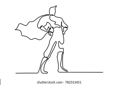 Brave Superman in a Cloak. continuous line drawing businessman. single line drawing