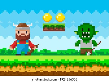 Brave viking with club fighting against monster. Zombie attacks human, apocalypse pixel scene. Pixel-game 8 bit retro. Trees and nature landscape pixelated video-game. Soldier personage defeats enemy