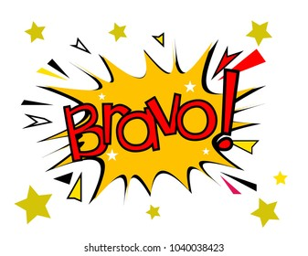Bravo has mean congrats, sign with comic cloud or bubble