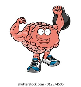 Brawny cartoon brain with muscles lifting weights and cheering, for sports concept design