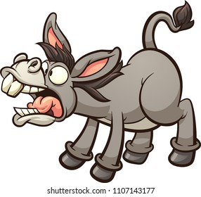 Braying cartoon donkey. Vector clip art illustration with simple gradients. All in a single layer.